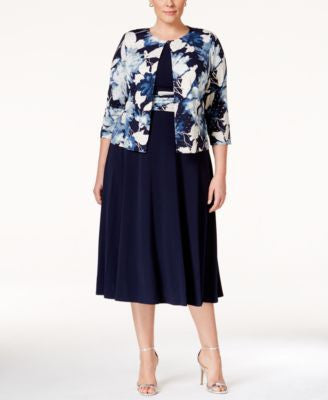 Jessica Howard Plus Size Fit & Flare Dress and Printed Jacket
