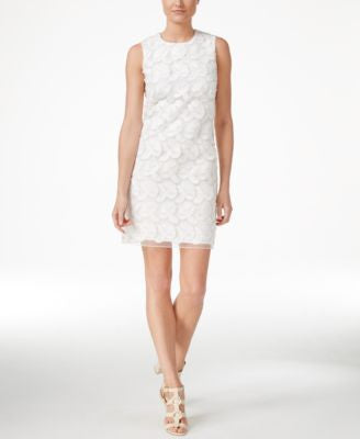 Calvin Klein Petite Sleeveless Floral-Overlay Sheath Dress
