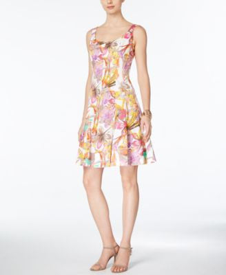 Nine West Sleeveless Floral-Print A-Line Dress