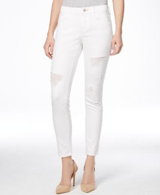 Dittos Selena Ripped White Wash Skinny Ankle Jeans