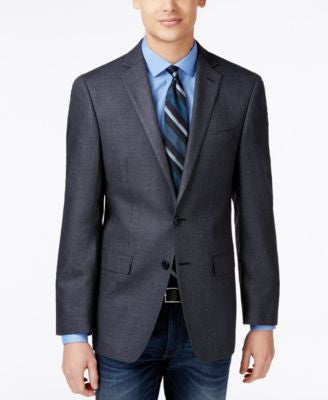 Calvin Klein Men's Gray and Black Neat Slim-Fit Sport Coat