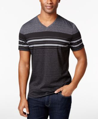 Alfani Men's Mason V-Neck Striped Short-Sleeve Shirt, Only at Vogily