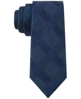 Calvin Klein Men's Midnight Windowpane Skinny Tie