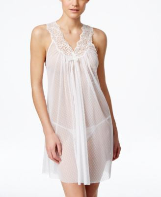 Oscar de la Renta Sheer Mesh Chemise with Matching Thong
