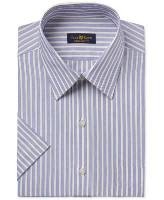 Club Room Men's Easy Care Yellow Striped Short-Sleeve Dress Shirt, Only at Vogily