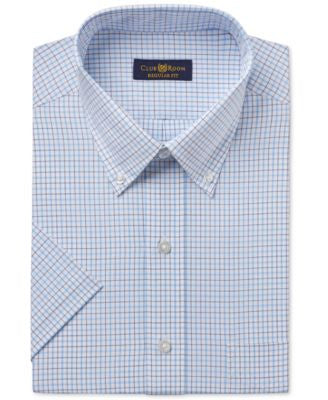 Club Room Men's Classic-Fit Easy Care Light Blue Double Tattersall Short-Sleeve Dress Shirt, Only at