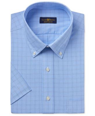 Club Room Men's Easy Care Blue Glenplaid Short-Sleeve Dress Shirt, Only at Vogily