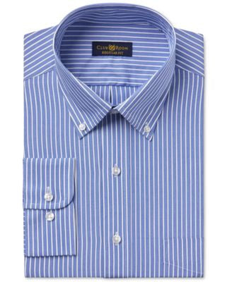 Club Room Estate Men's Wrinkle-Resistant Classic Blue Stripe Dress Shirt, Only at Vogily