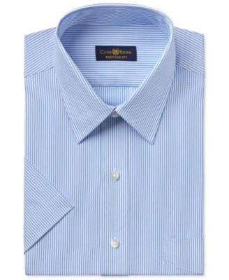 Club Room Men's Classic-Fit Easy Care Blue Bengal-Striped Short-Sleeve Dress Shirt, Only at Vogily