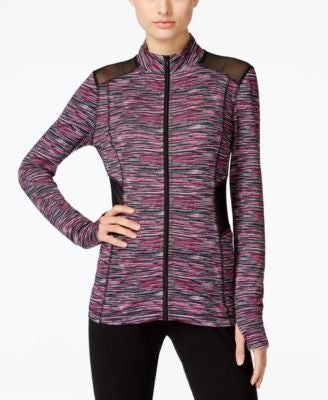 Material Girl Active Juniors' Space-Dye Print Illusion Zipper-Front Jacket, Only at Vogily
