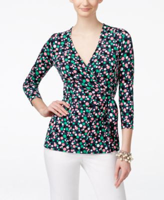 Anne Klein Dot-Print Side-Tie Surplice Top