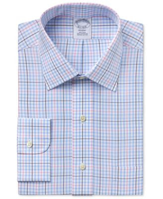 Brooks Brother Men's Regent Classic-Fit Light Blue Plaid Dress Shirt