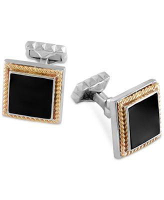 Onyx Cufflinks (17-1/4mm) in Sterling Silver with 14k Gold Accents