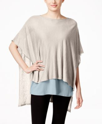 Eileen Fisher Silk-Linen Boat-Neck Poncho