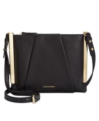 Calvin Klein Leather Crossbody with Metal Trim