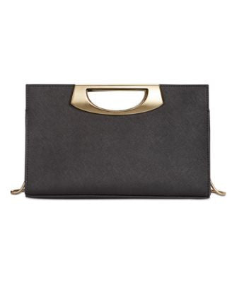 Calvin Klein Saffiano Leather Convertible Clutch with Metal Handle