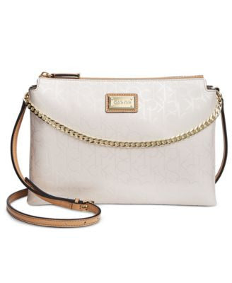 Calvin Klein Triple Compartment Embossed Chain Accent Crossbody