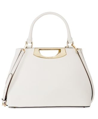 Calvin Klein Saffiano Leather Satchel with Cutout Metal Handle