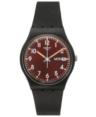 Swatch Unisex Swiss Core Black Silicone Strap Watch 34mm GB753