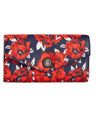 Tommy Hilfiger TH Enamel-Serif Logo Printed Clutch Wallet