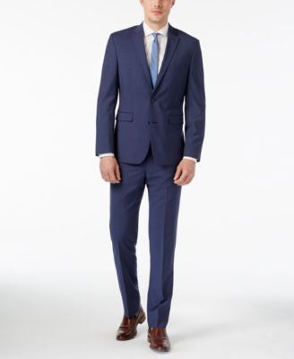 Vince Camuto Men's Slim-Fit Blue Striped Suit
