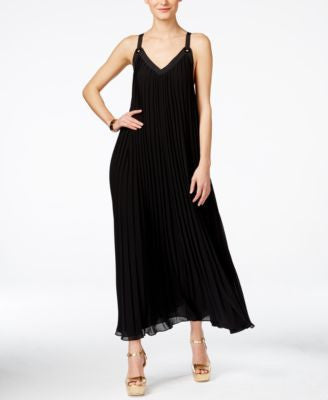 MICHAEL Michael Kors Embellished Pleated Maxi Dress