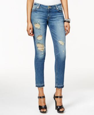 MICHAEL Michael Kors Izzy Ripped Cropped Vintage Wash Jeans