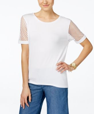 MICHAEL Michael Kors Mesh-Sleeve High-Low T-Shirt