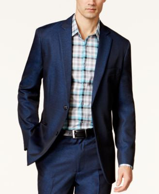 Alfani Big and Tall Navy Iridescent Sport Coat, Only at Vogily
