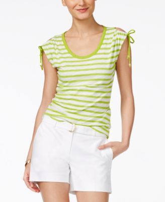 MICHAEL Michael Kors Petite Shoulder-Tie Striped Top