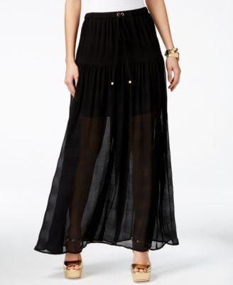 MICHAEL Michael Kors Pleated Drawstring-Waist Maxi Skirt