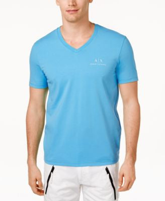 Armani Exchange Men's Signature AX Embroidered Logo V-Neck T-Shirt