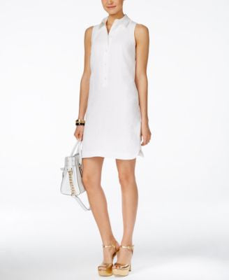 MICHAEL Michael Kors Petite Sleeveless Linen Shirtdress