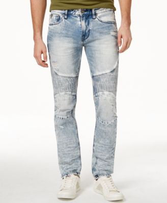 GUESS Men's Slim-Fit Tapered Achieve Wash Moto Jeans
