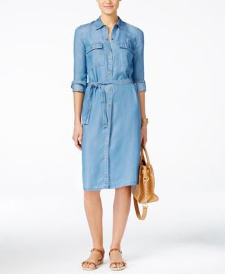 MICHAEL Michael Kors Petite Belted Denim Shirtdress