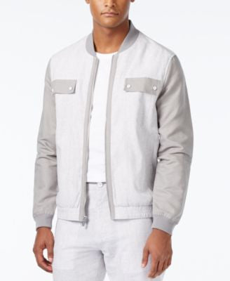 Sean John Men's Lightweight Linen Colorblocked Bomber Jacket