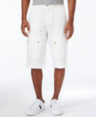 Sean John Men's Lightweight Linen Utility Shorts
