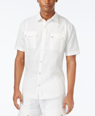 Sean John Men's Big & Tall Lightweight Linen Short-Sleeve Shirt
