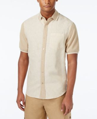 Sean John Men's Pieced Stripe Big & Tall Short-Sleeve Hybrid Shirt