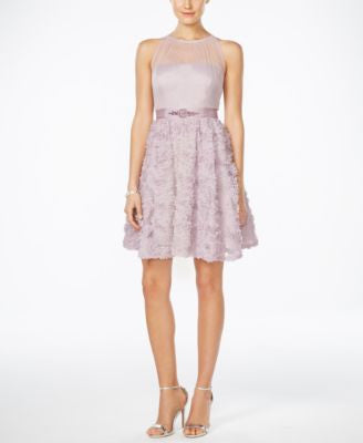 Adrianna Papell Floral-Appliqué Illusion Fit & Flare Dress
