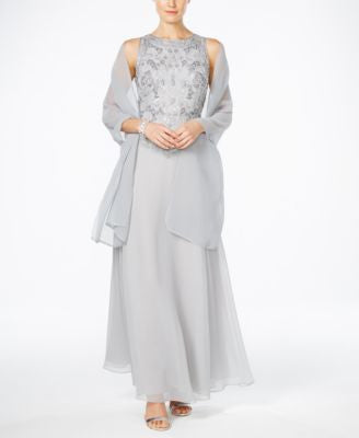 J Kara Beaded Chiffon Gown and Scarf