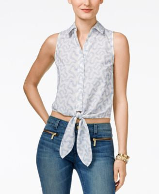 MICHAEL Michael Kors Embroidered Tie-Front Shirt