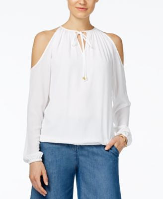 MICHAEL Michael Kors Alston Printed Cold-Shoulder Peasant Top