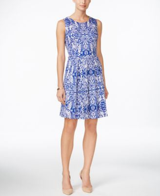Charter Club Petite Printed Fit & Flare Dress, Only at Vogily