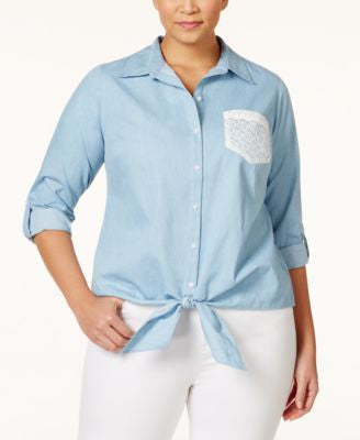 NY Collection Plus Size Chambray Crochet-Pocket Tie-Front Shirt
