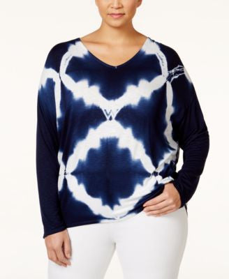 Nanette by Nanette Lepore Plus Size Tie-Dyed Dropped-Shoulder T-Shirt, Only at Vogily