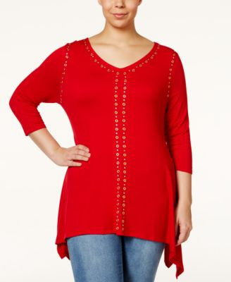 Belldini Plus Size Studded Handkerchief-Hem Top