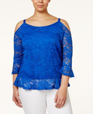 INC International Concepts Plus Size Ruffled Lace Cold-Shoulder Top, Only at Vogily