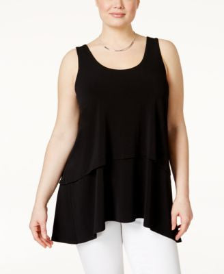 Alfani Plus Size Tiered-Overlay Tank Top, Only at Vogily