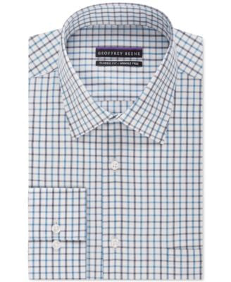 Geoffrey Beene Men's Classic-Fit Danish Blue Checked Dress Shirt